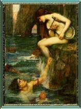 A Rhein maiden luring an innocent sailor to ruin at the Lorelei